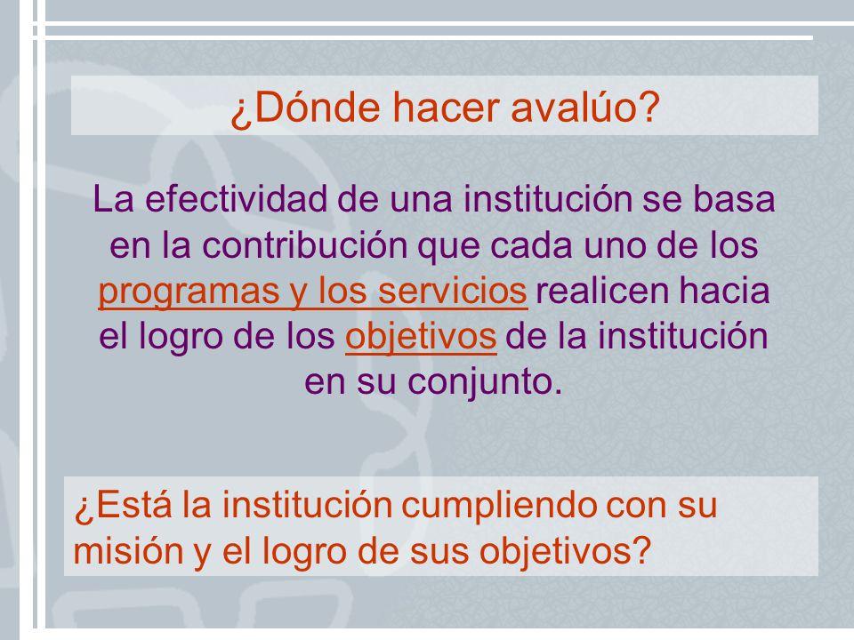 La efectividad de una institución se basa en la contribución que cada uno de los programas y los servicios realicen hacia el logro de los objetivos de
