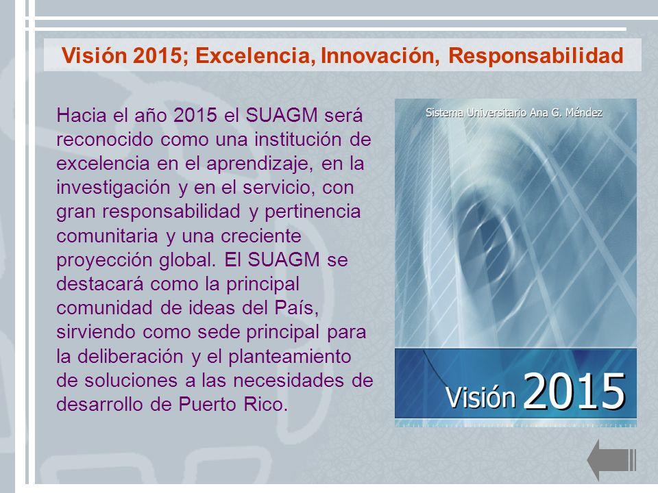 Hacia el año 2015 el SUAGM será reconocido como una institución de excelencia en el aprendizaje, en la investigación y en el servicio, con gran respon