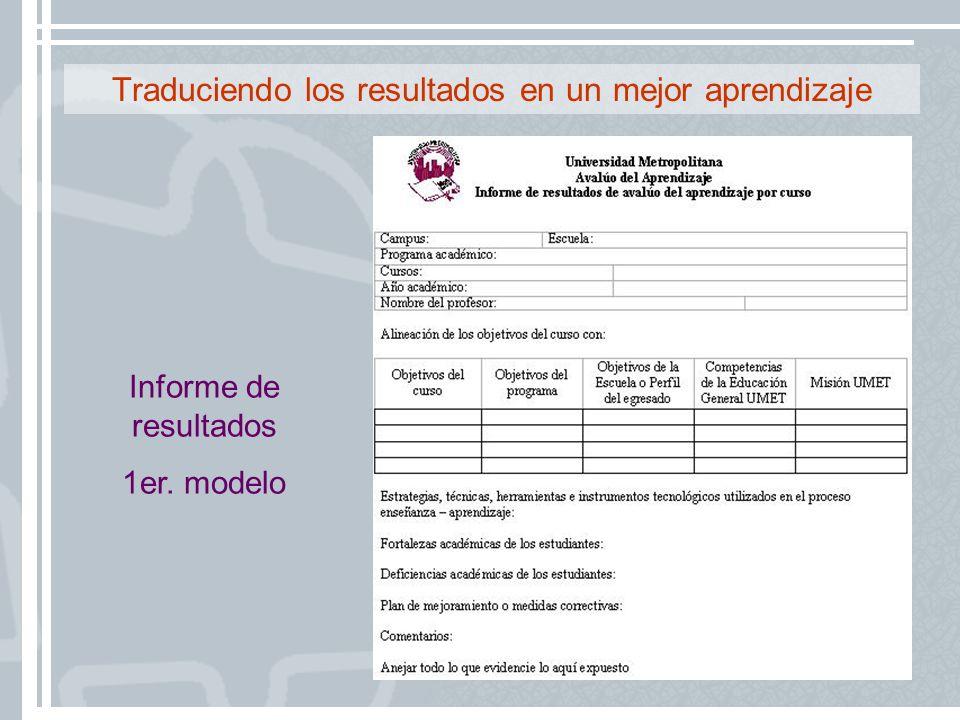 Traduciendo los resultados en un mejor aprendizaje Informe de resultados 1er. modelo
