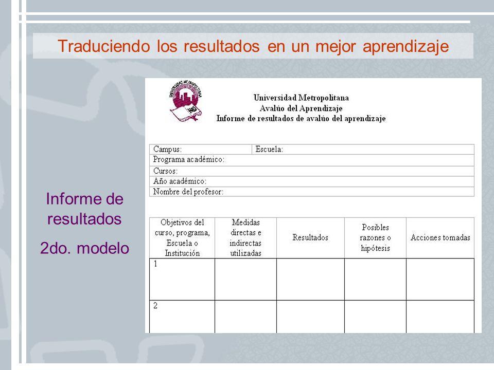 Traduciendo los resultados en un mejor aprendizaje Informe de resultados 2do. modelo
