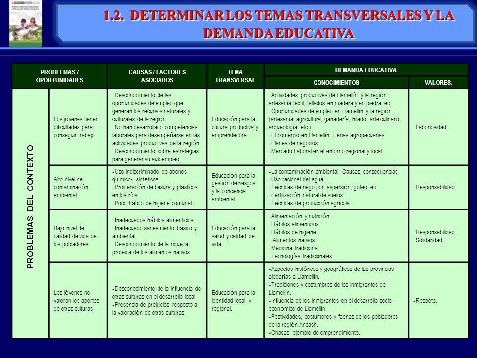 1.2. DETERMINAR LOS TEMAS TRANSVERSALES Y LA DEMANDA EDUCATIVA PROBLEMAS / OPORTUNIDADES CAUSAS / FACTORES ASOCIADOS TEMA TRANSVERSAL DEMANDA EDUCATIV