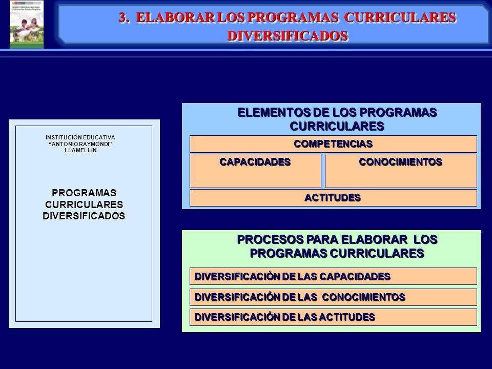 3. ELABORAR LOS PROGRAMAS CURRICULARES DIVERSIFICADOS PROGRAMAS CURRICULARES DIVERSIFICADOS INSTITUCIÓN EDUCATIVA ANTONIO RAYMONDI LLAMELLIN COMPETENC