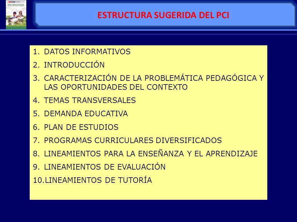 ESTRUCTURA SUGERIDA DEL PCI 1.DATOS INFORMATIVOS 2.INTRODUCCIÓN 3.CARACTERIZACIÓN DE LA PROBLEMÁTICA PEDAGÓGICA Y LAS OPORTUNIDADES DEL CONTEXTO 4.TEM