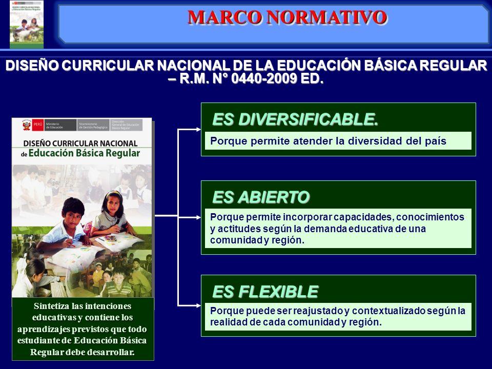 DISEÑO CURRICULAR NACIONAL DE LA EDUCACIÓN BÁSICA REGULAR – R.M. N° 0440-2009 ED. Porque permite atender la diversidad del país ES DIVERSIFICABLE. Sin