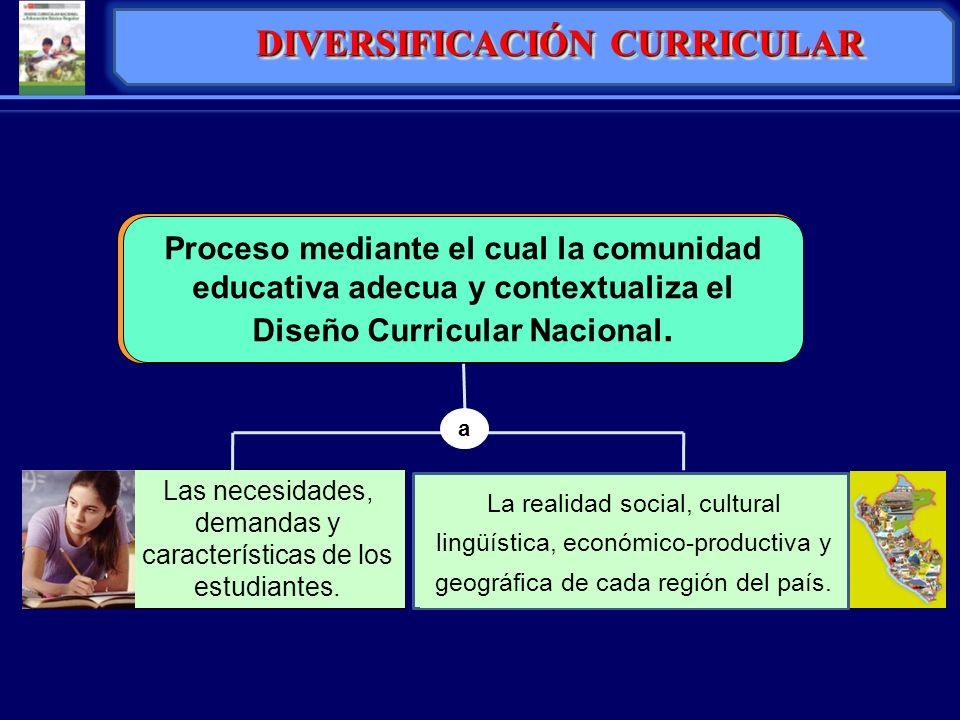 DIVERSIFICACIÓN CURRICULAR Es el proceso mediante el cual la comunidad educativa adecua, conextualiza y enriquece el Diseño La realidad social, cultur
