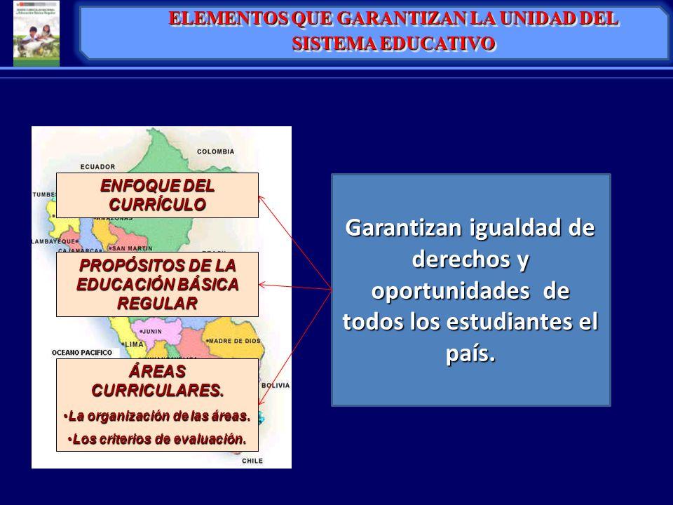 ENFOQUE DEL CURRÍCULO PROPÓSITOS DE LA EDUCACIÓN BÁSICA REGULAR ÁREAS CURRICULARES. La organización de las áreas.La organización de las áreas. Los cri