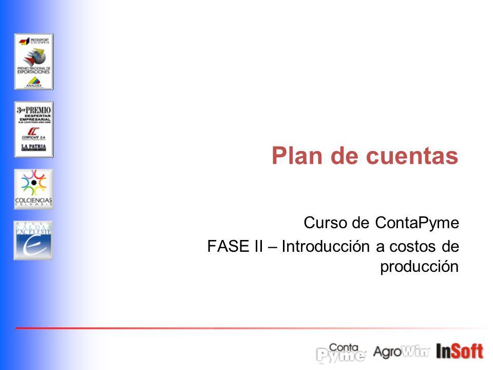 Plan de cuentas Curso de ContaPyme FASE II – Introducción a costos de producción