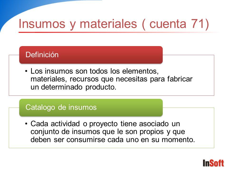 Insumos y materiales ( cuenta 71) Los insumos son todos los elementos, materiales, recursos que necesitas para fabricar un determinado producto. Defin