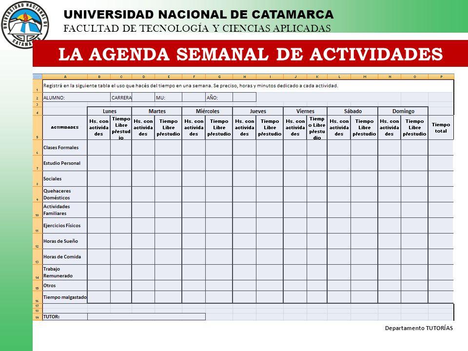 Departamento TUTORÍAS UNIVERSIDAD NACIONAL DE CATAMARCA FACULTAD DE TECNOLOGÍA Y CIENCIAS APLICADAS LA AGENDA SEMANAL DE ACTIVIDADES ¿QUÉ ES.