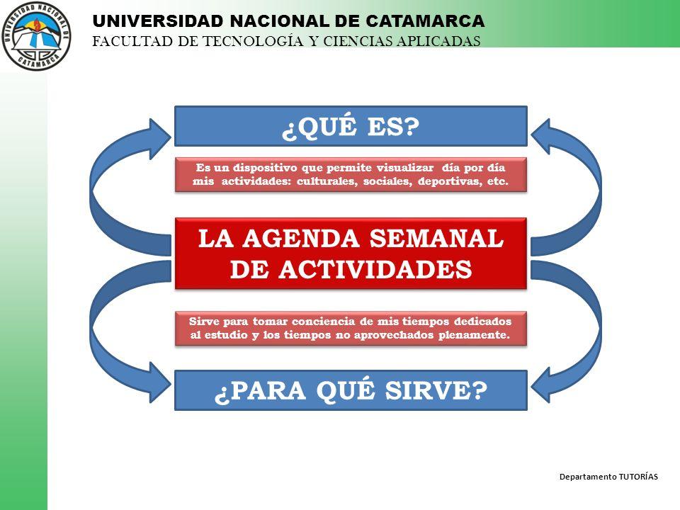 Departamento TUTORÍAS UNIVERSIDAD NACIONAL DE CATAMARCA FACULTAD DE TECNOLOGÍA Y CIENCIAS APLICADAS LAS ACTIVIDADES