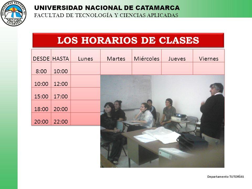 Departamento TUTORÍAS UNIVERSIDAD NACIONAL DE CATAMARCA FACULTAD DE TECNOLOGÍA Y CIENCIAS APLICADAS LOS HORARIOS DE CLASES