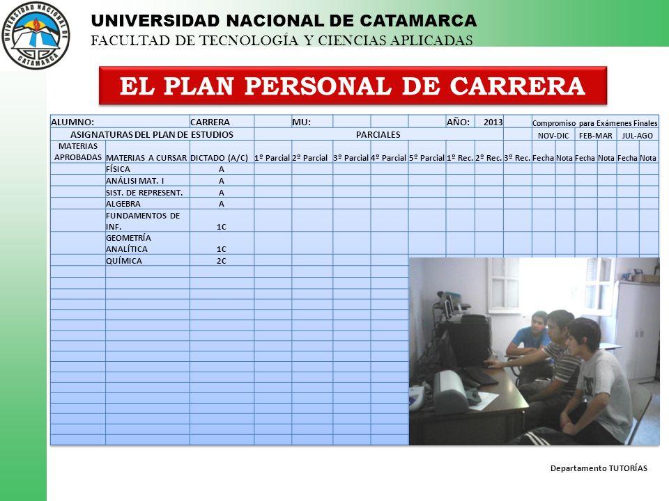 Departamento TUTORÍAS UNIVERSIDAD NACIONAL DE CATAMARCA FACULTAD DE TECNOLOGÍA Y CIENCIAS APLICADAS EL PLAN PERSONAL DE CARRERA