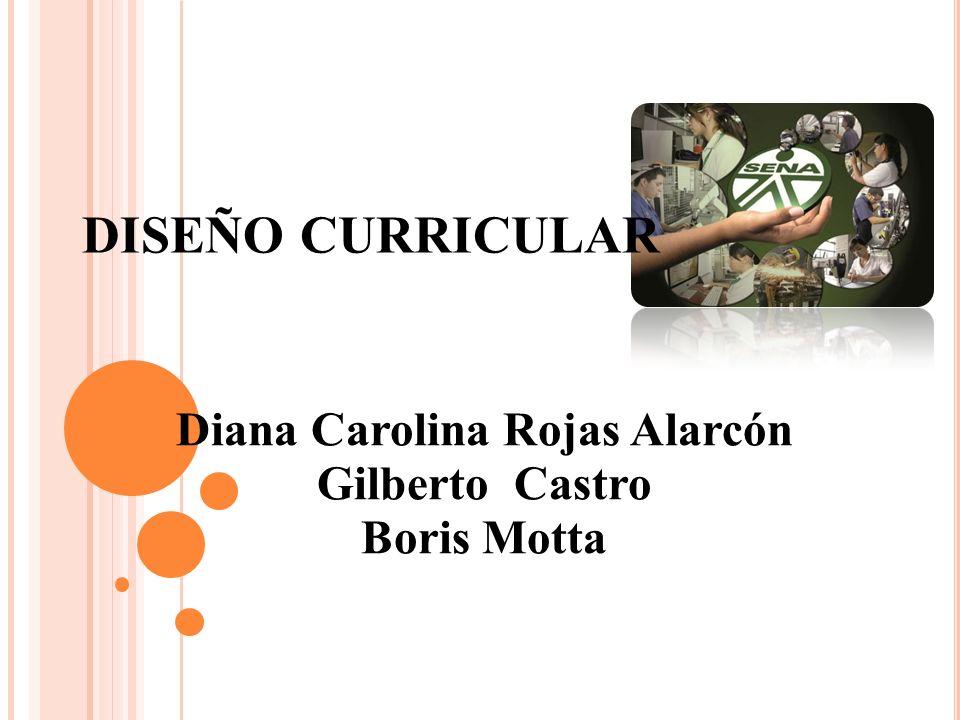 DISEÑO CURRICULAR Diana Carolina Rojas Alarcón Gilberto Castro Boris Motta