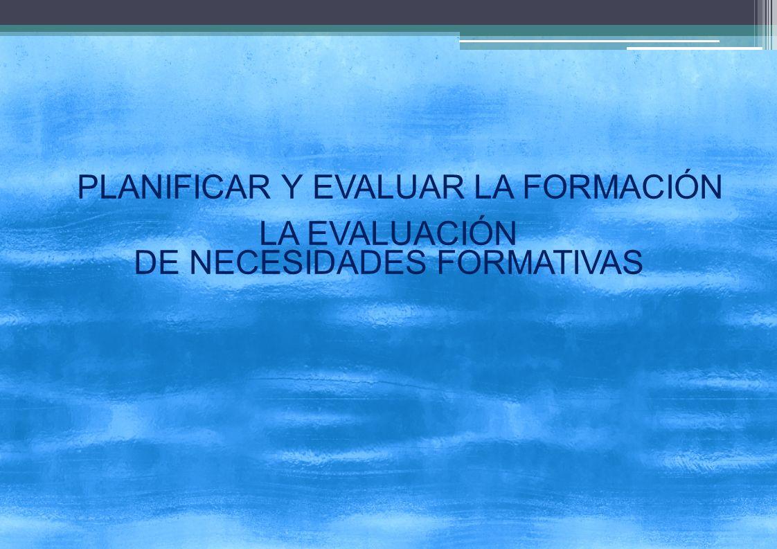 PLANIFICAR Y EVALUAR LA FORMACIÓN LA EVALUACIÓN DE NECESIDADES FORMATIVAS