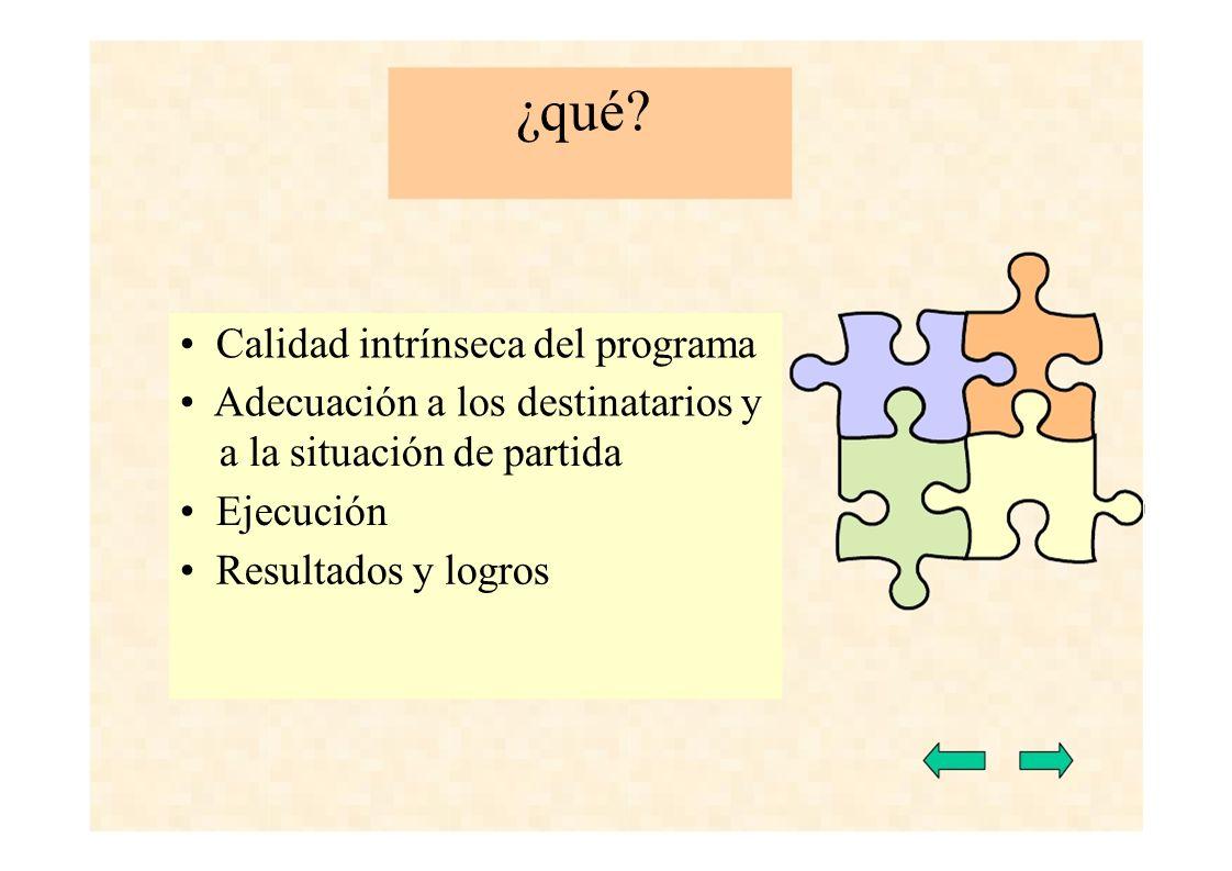 ¿qué? Calidad intrínseca del programa Adecuación a los destinatarios y a la situación de partida Ejecución Resultados y logros