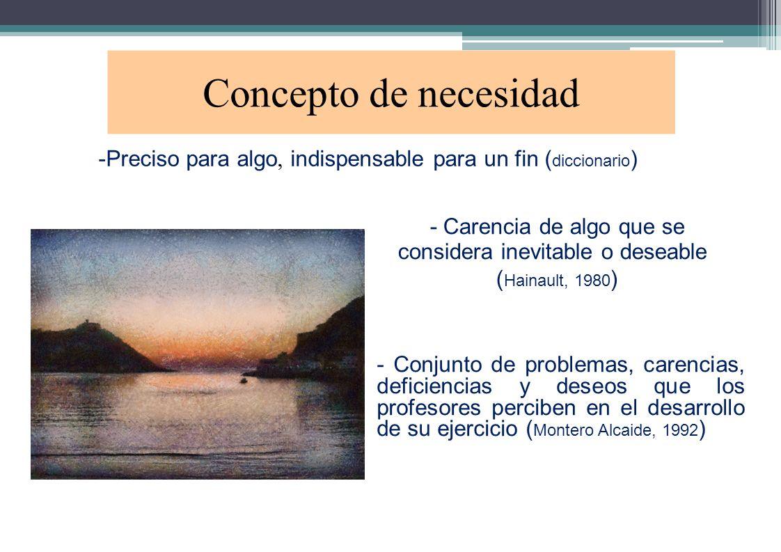 Concepto de necesidad -Preciso para algo, indispensable para un fin ( diccionario ) - Carencia de algo que se considera inevitable o deseable ( Hainau