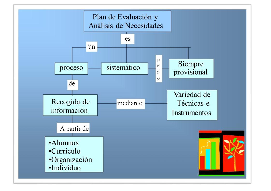 de Recogida de información A partir de Alumnos Currículo Organización Individuo Variedad de Técnicas e Instrumentos mediante proceso Siempre provision
