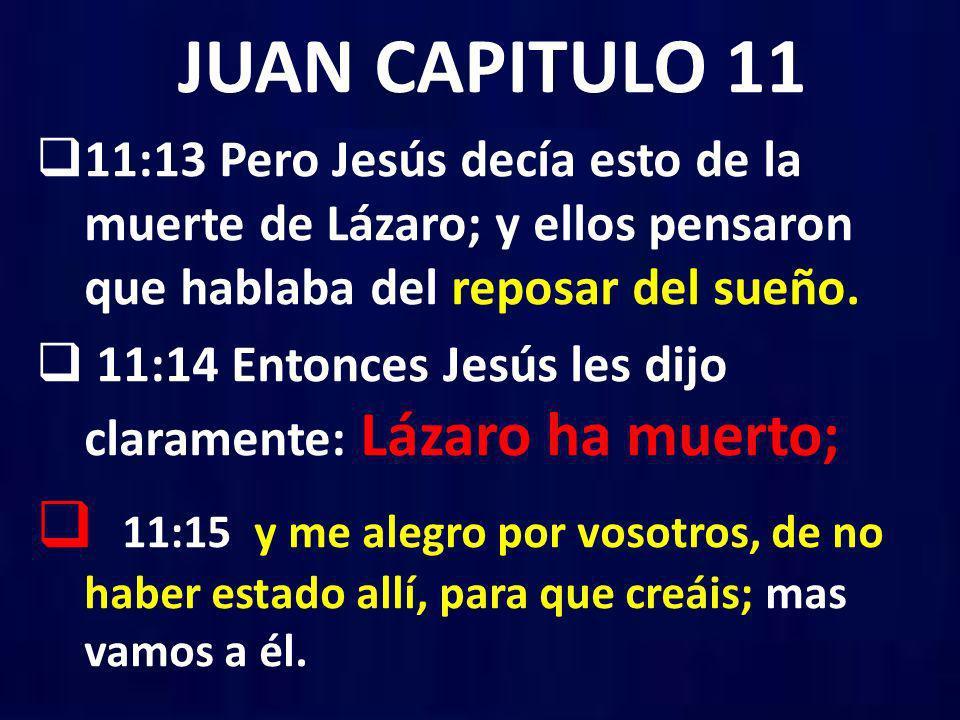 JUAN CAPITULO 11 11:13 Pero Jesús decía esto de la muerte de Lázaro; y ellos pensaron que hablaba del reposar del sueño. 11:14 Entonces Jesús les dijo