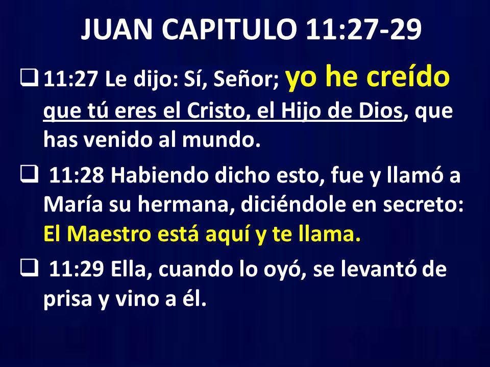 JUAN CAPITULO 11:27-29 11:27 Le dijo: Sí, Señor; yo he creído que tú eres el Cristo, el Hijo de Dios, que has venido al mundo. 11:28 Habiendo dicho es