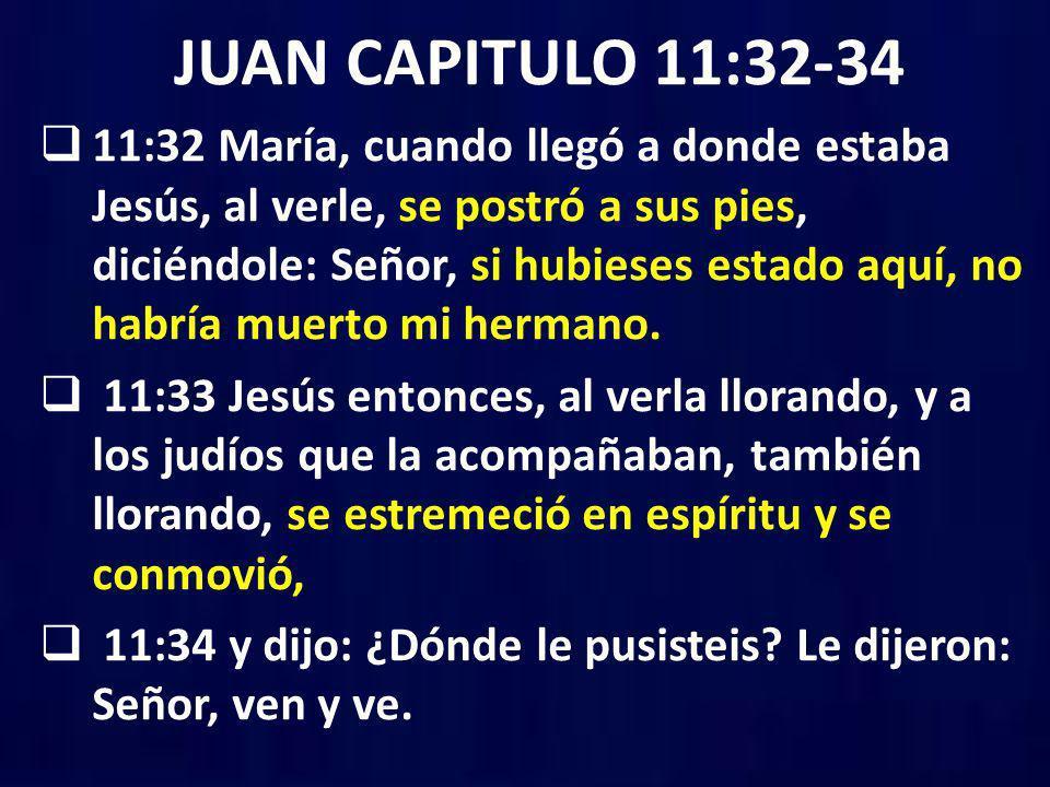 JUAN CAPITULO 11:32-34 11:32 María, cuando llegó a donde estaba Jesús, al verle, se postró a sus pies, diciéndole: Señor, si hubieses estado aquí, no
