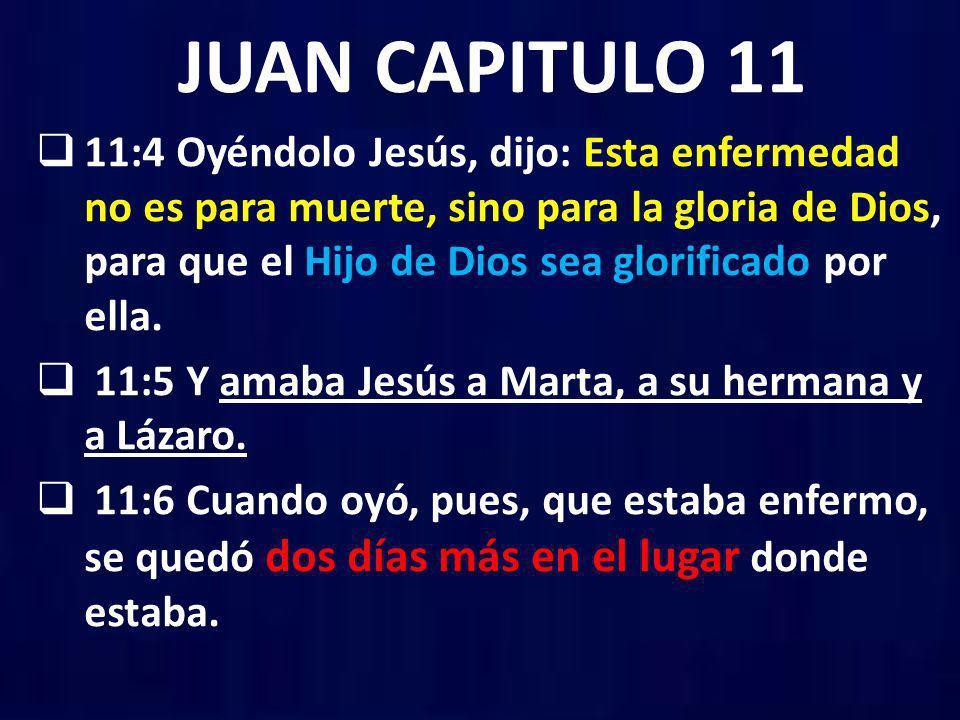 JUAN CAPITULO 11 11:4 Oyéndolo Jesús, dijo: Esta enfermedad no es para muerte, sino para la gloria de Dios, para que el Hijo de Dios sea glorificado p