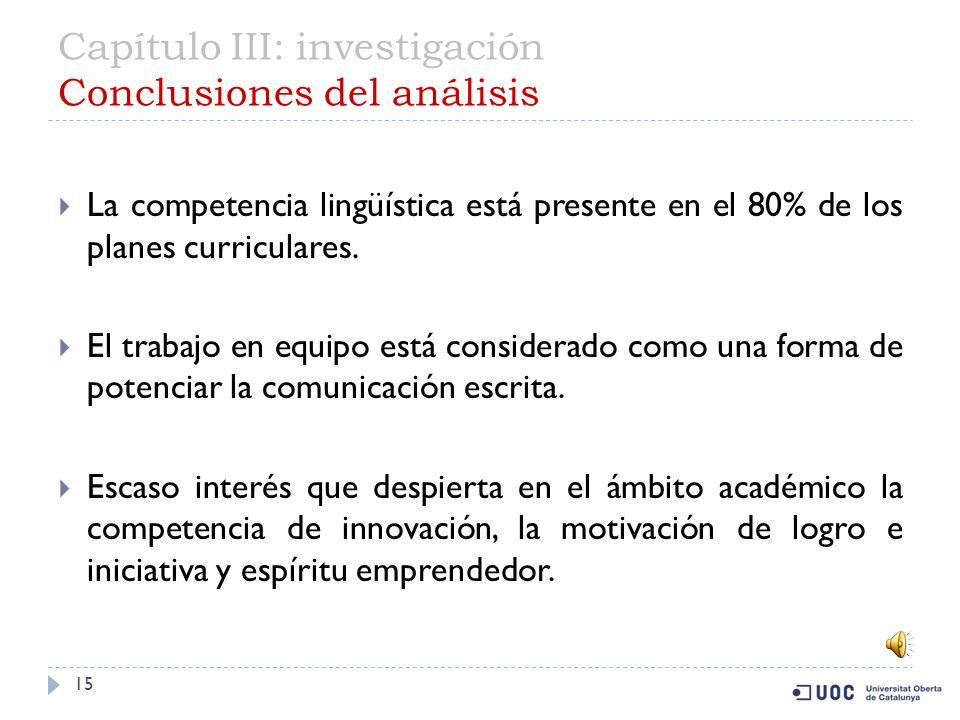 Capítulo III: investigación Conclusión de la investigación (segunda parte) 14 16 universidades contemplan la competencia transversal de comunicación escrita.