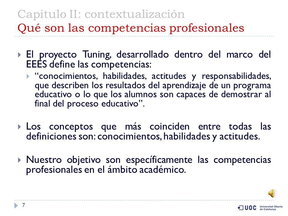 Capítulo II: contextualización Qué son las competencias profesionales 7 El proyecto Tuning, desarrollado dentro del marco del EEES define las competencias: conocimientos, habilidades, actitudes y responsabilidades, que describen los resultados del aprendizaje de un programa educativo o lo que los alumnos son capaces de demostrar al final del proceso educativo.