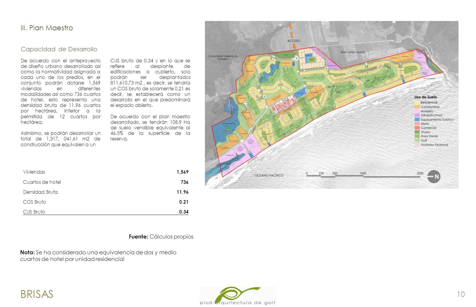 10 BRISAS lII. Plan Maestro De acuerdo con el anteproyecto de diseño urbano desarrollado así como la normatividad asignada a cada uno de los predios,