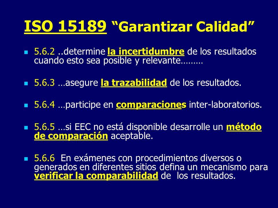 ISO 15189 Garantizar Calidad 5.6.2..determine la incertidumbre de los resultados cuando esto sea posible y relevante……… 5.6.3 …asegure la trazabilidad