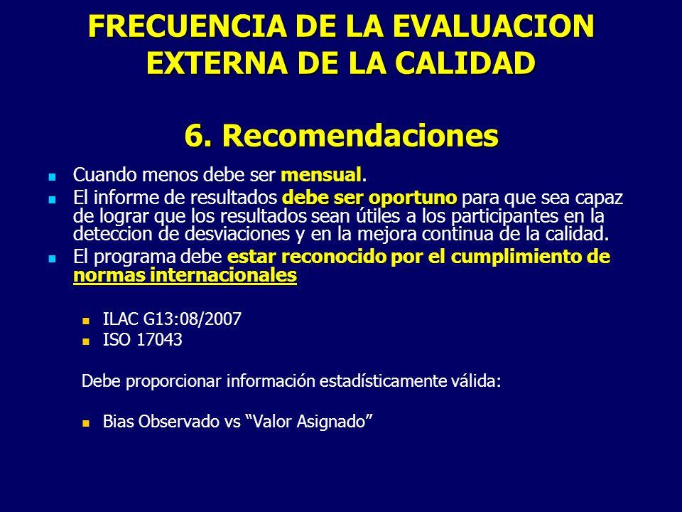 FRECUENCIA DE LA EVALUACION EXTERNA DE LA CALIDAD 6. Recomendaciones Cuando menos debe ser mensual. debe ser oportuno El informe de resultados debe se
