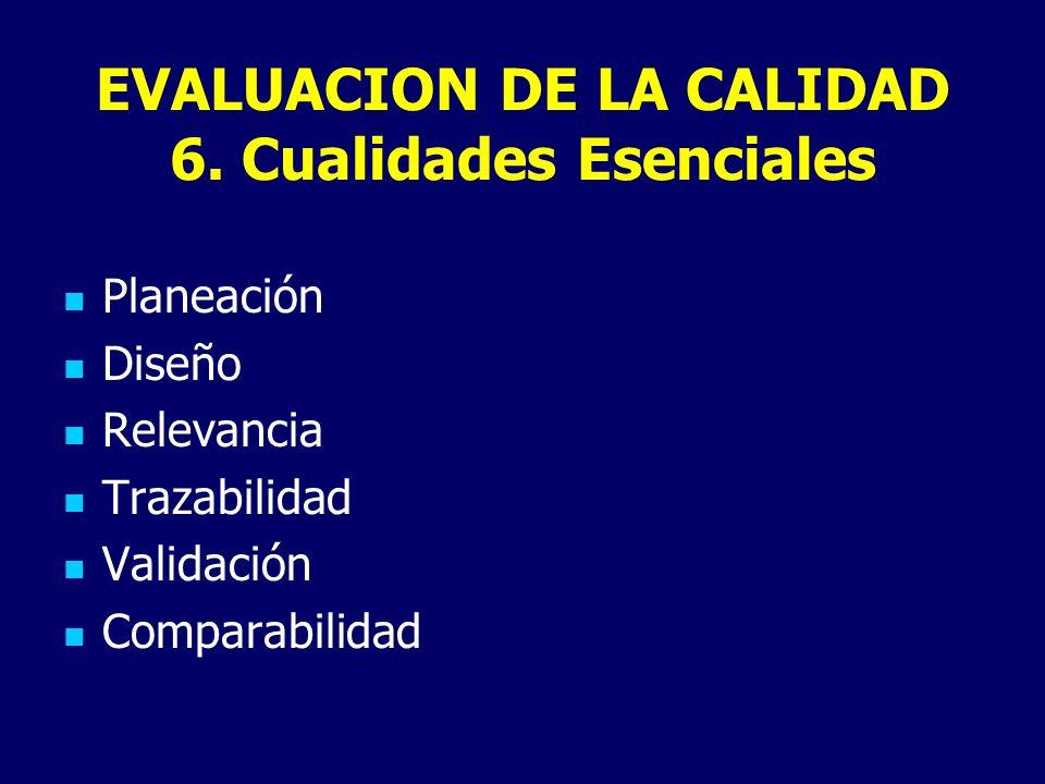 EVALUACION DE LA CALIDAD 6. Cualidades Esenciales Planeación Diseño Relevancia Trazabilidad Validación Comparabilidad