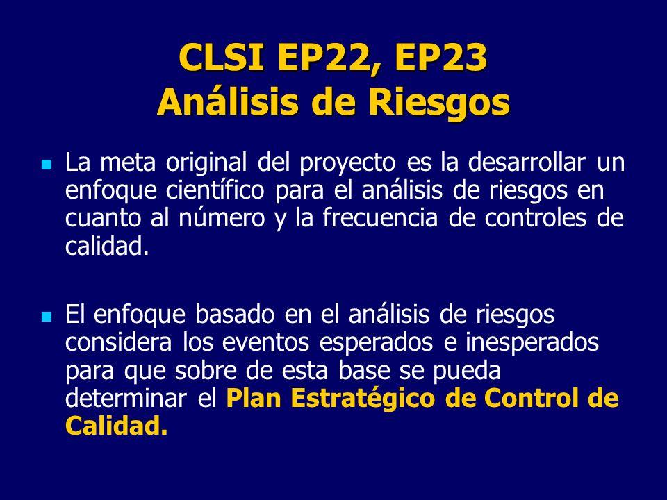 CLSI EP22, EP23 Análisis de Riesgos La meta original del proyecto es la desarrollar un enfoque científico para el análisis de riesgos en cuanto al núm