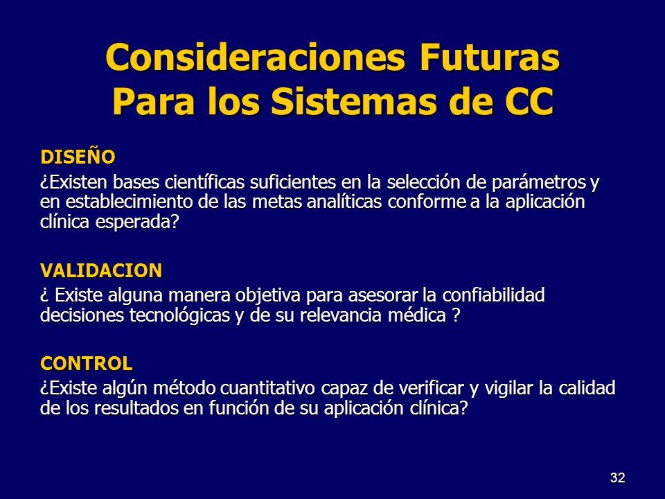 Consideraciones Futuras Para los Sistemas de CC DISEÑO ¿Existen bases científicas suficientes en la selección de parámetros y en establecimiento de la