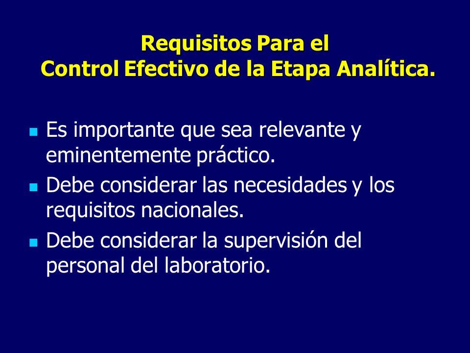 Requisitos Para el Control Efectivo de la Etapa Analítica. Es importante que sea relevante y eminentemente práctico. Debe considerar las necesidades y