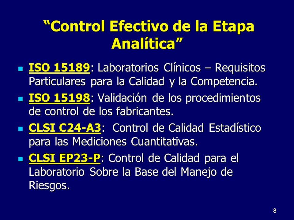 Control Efectivo de la Etapa Analítica Control Efectivo de la Etapa Analítica ISO 15189: Laboratorios Clínicos – Requisitos Particulares para la Calid