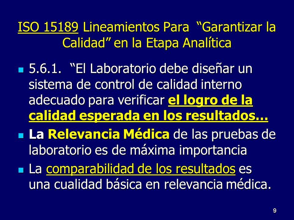 ISO 15189 Garantizar Calidad 5.6.2..determine la incertidumbre de los resultados cuando esto sea posible y relevante……… 5.6.3 …asegure la trazabilidad de los resultados.