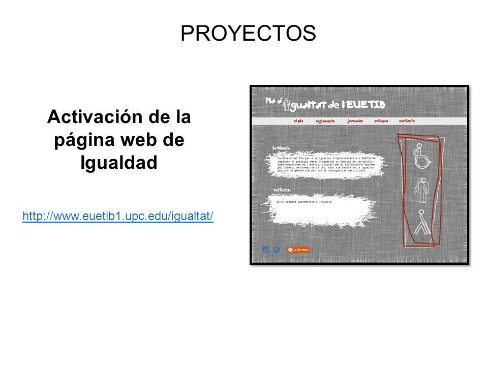 PROYECTOS Activación de la página web de Igualdad http://www.euetib1.upc.edu/igualtat/