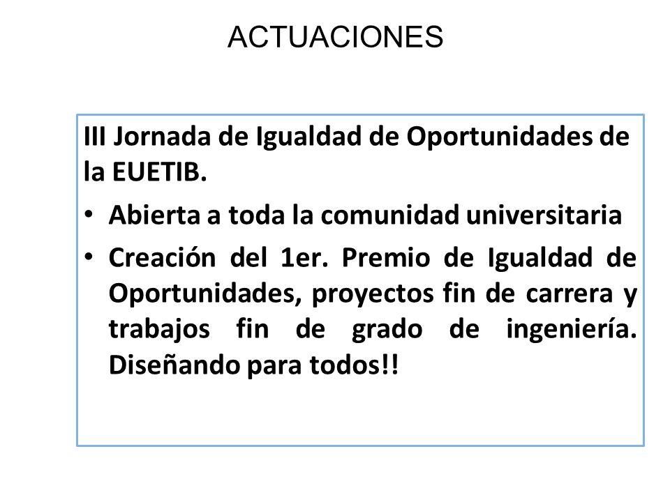 ACTUACIONES III Jornada de Igualdad de Oportunidades de la EUETIB. Abierta a toda la comunidad universitaria Creación del 1er. Premio de Igualdad de O