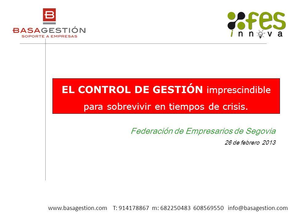 Federación de Empresarios de Segovia 26 de febrero 2013 EL CONTROL DE GESTIÓN imprescindible para sobrevivir en tiempos de crisis. www.basagestion.com