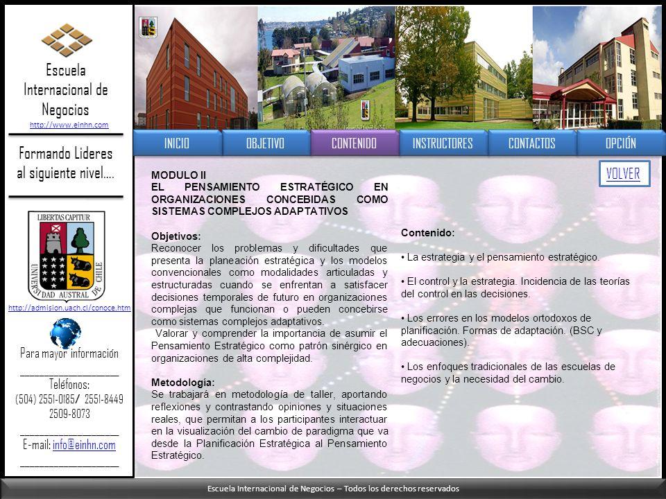 Escuela Internacional de Negocios – Todos los derechos reservados Formando Lideres al siguiente nivel…. MODULO II EL PENSAMIENTO ESTRATÉGICO EN ORGANI