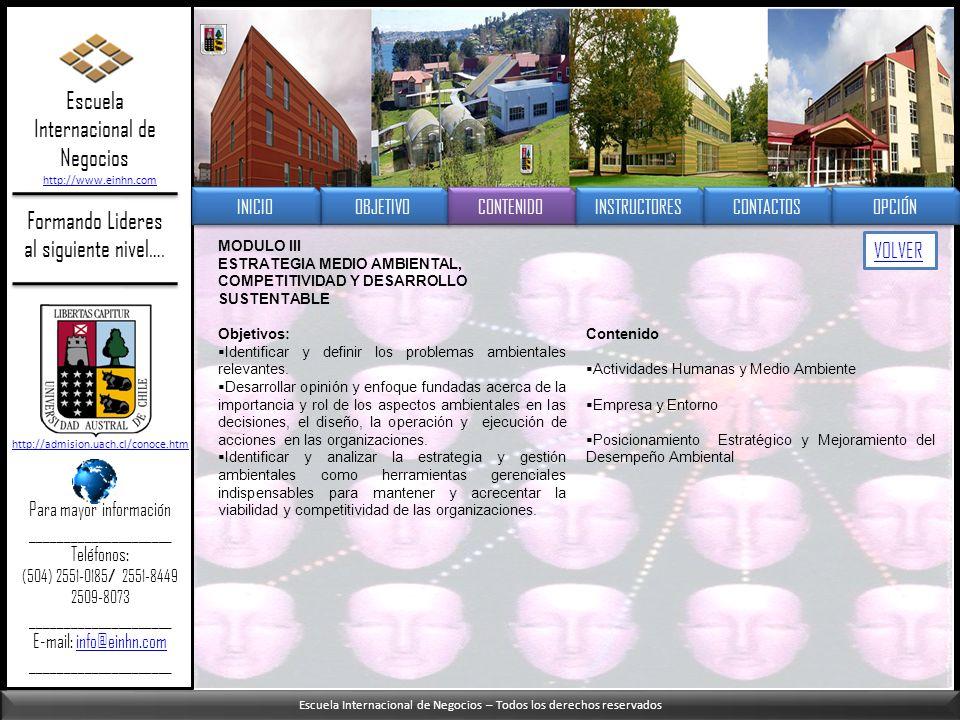 Escuela Internacional de Negocios – Todos los derechos reservados Formando Lideres al siguiente nivel…. MODULO III ESTRATEGIA MEDIO AMBIENTAL, COMPETI