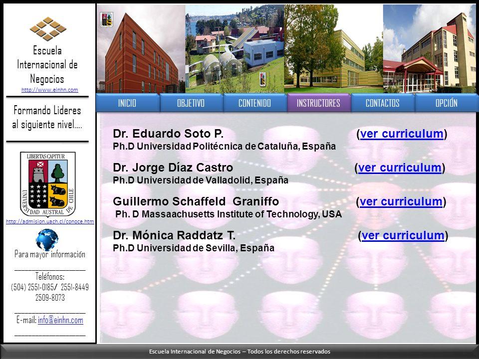 Escuela Internacional de Negocios – Todos los derechos reservados Formando Lideres al siguiente nivel…. Dr. Eduardo Soto P. (ver curriculum)ver curric