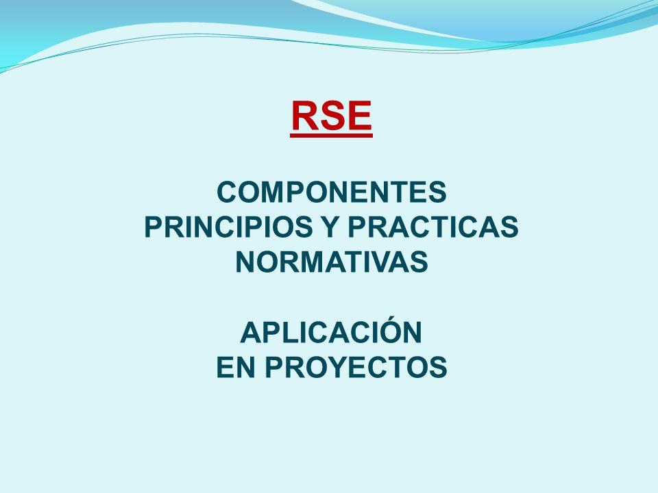 RSE COMPONENTES PRINCIPIOS Y PRACTICAS NORMATIVAS APLICACIÓN EN PROYECTOS