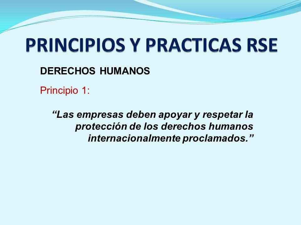 DERECHOS HUMANOS Principio 1: Las empresas deben apoyar y respetar la protección de los derechos humanos internacionalmente proclamados.