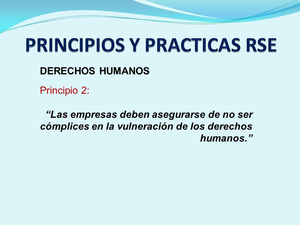 DERECHOS HUMANOS Principio 2: Las empresas deben asegurarse de no ser cómplices en la vulneración de los derechos humanos.