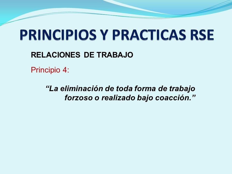 RELACIONES DE TRABAJO Principio 4: La eliminación de toda forma de trabajo forzoso o realizado bajo coacción.