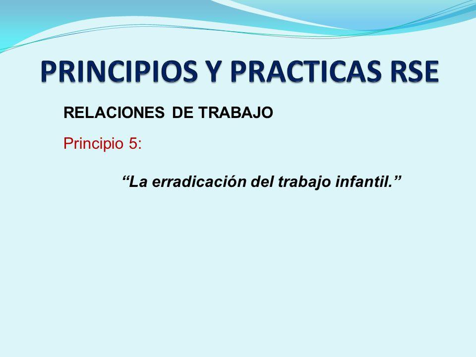 RELACIONES DE TRABAJO Principio 5: La erradicación del trabajo infantil.