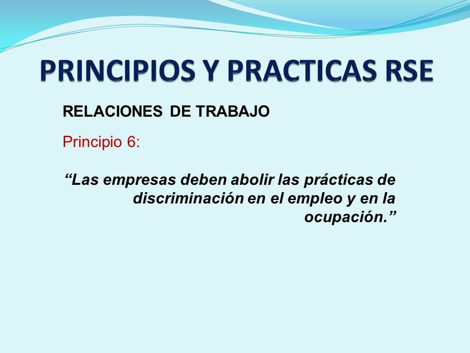 RELACIONES DE TRABAJO Principio 6: Las empresas deben abolir las prácticas de discriminación en el empleo y en la ocupación.