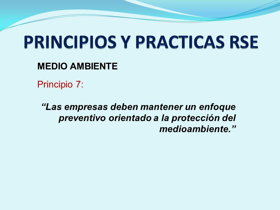 MEDIO AMBIENTE Principio 7: Las empresas deben mantener un enfoque preventivo orientado a la protección del medioambiente.