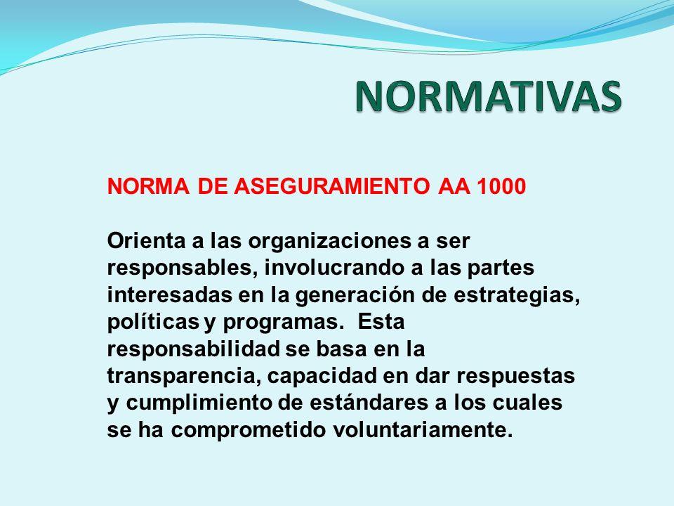 NORMA DE ASEGURAMIENTO AA 1000 Orienta a las organizaciones a ser responsables, involucrando a las partes interesadas en la generación de estrategias,